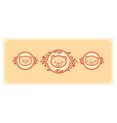 woodland animals icon set three teddy bears vector image