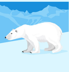 big polar bear at north pole cartoon style vector image