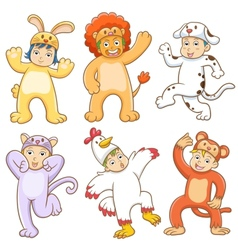Kid with animals costume vector image vector image