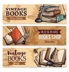 old book with feather pen and inkwell banner set vector image