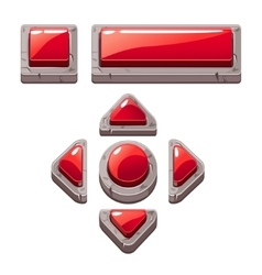 Red Cartoon stone buttons for game or web design vector image