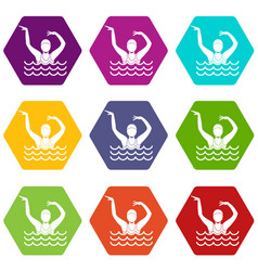 swimmer in a swimming pool icon set color vector image vector image