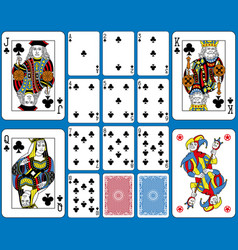 clubs suite playing cards french style vector image vector image
