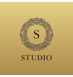 monogram luxury linear logo company icon vector image vector image