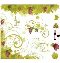 wine decorative elements vector image