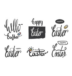 a collection of logos and emblems hello easter and vector image
