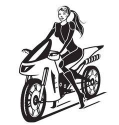 Beautiful girl with a motorcycle vector image