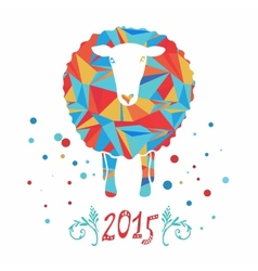 card with sheep and 2015 vector image vector image