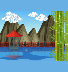 Chinese theme background with pavillion in the vector