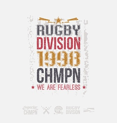 College rugby team emblem and icons vector image vector image