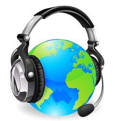 help desk headset world globe vector image vector image
