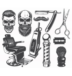 Set of vintage monochrome barber tools and vector image vector image