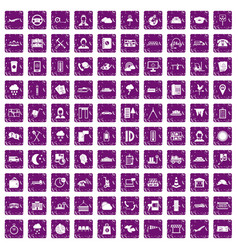 100 dispatcher icons set grunge purple vector