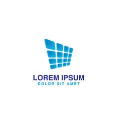 abstract blue solar panel logo vector image