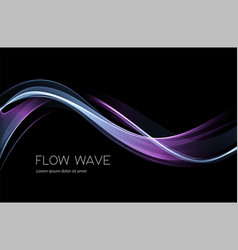 abstract shiny color blue wave design element on vector image