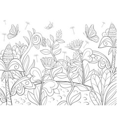 Adult coloring bookpage a cute landscape with vector