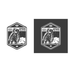 Astronaut in outer space emblem vector