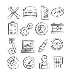 Auto service doodle icons vector