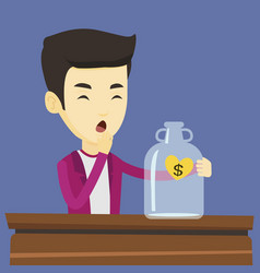 bankrupt man looking at empty money box vector image