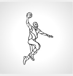 basketball player slam dunk outline silhouette vector image