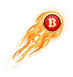 bitcoin takeoff - flaming bitcoin flying up vector image