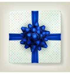 Blue bow ribbon on polka dot paper box EPS 10 vector