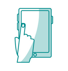 Blue silhouette shading tablet tech device with vector