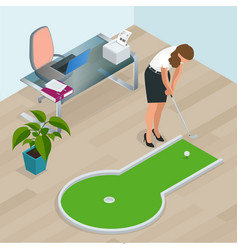 Businesswoman playing mini golf in his office vector