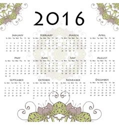 Calendar with round mandala for 2016 on white vector