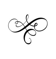 calligraphy element flourish hand drawn vector image