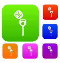 car key with remote control set collection vector image