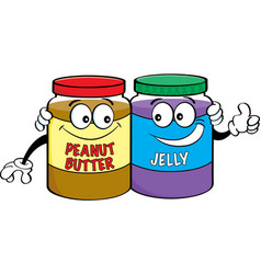 cartoon peanut butter and jelly jars vector image