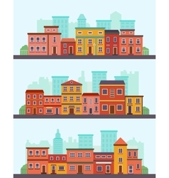 Central street flat design urban landscape vector