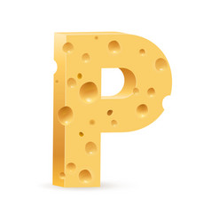 Cheese font p letter on white vector