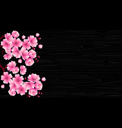 cherry blossom branch with pink flowers on a vector image