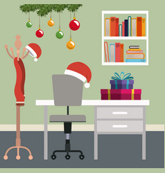 christmas workplace scene with christmas vector image