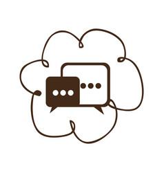 Cloud chat bubbles icons sercive vector