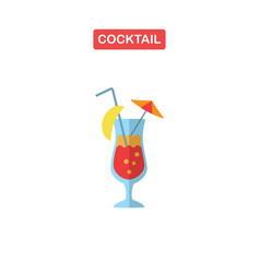 cocktail glass with drink icons for menu web and vector image