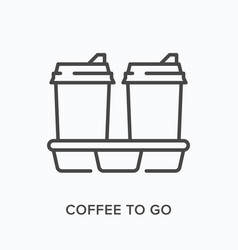 coffee to go flat line icon outline vector image
