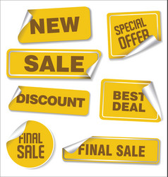 collection yellow sale stickers with rounded vector image