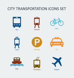 colored city and public transportation icons set vector image