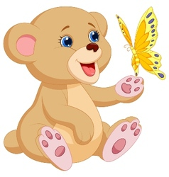 Cute baby bear cartoon playing with butterfly vector image