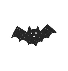 cute flying black bat isolated element halloween vector image