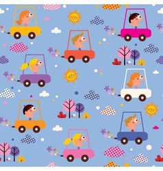 Cute kids driving cars pattern vector