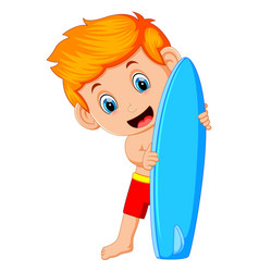 cute surfer man is holding surfboard vector image