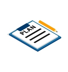 Document plan icon isometric 3d style vector image