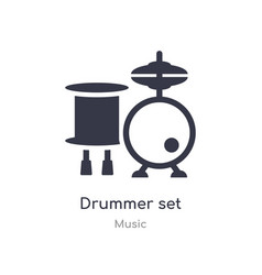 Drummer set outline icon isolated line from music vector