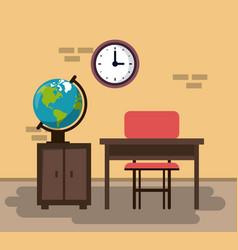 empty classroom cartoon vector image