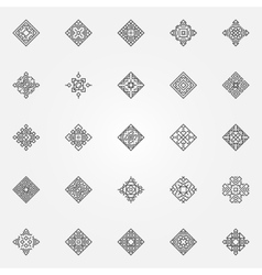 Ethnic geometric icons set vector image