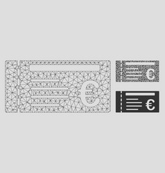 euro ticket mesh 2d model and triangle vector image